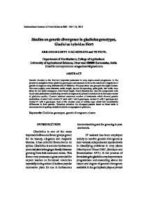 Studies on genetic divergence in gladiolus genotypes, Gladiolus hybridus Hort