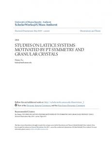 STUDIES ON LATTICE SYSTEMS MOTIVATED BY PT-SYMMETRY AND GRANULAR CRYSTALS