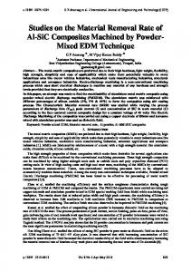 Studies on the Material Removal Rate of Al-SiC Composites Machined by Powder- Mixed EDM Technique