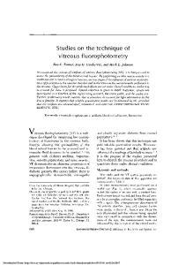 Studies on the technique of vitreous fluorophotometry