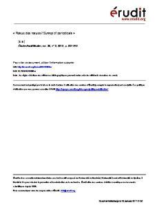 Studies, vol. 36, n 2, 2012, p