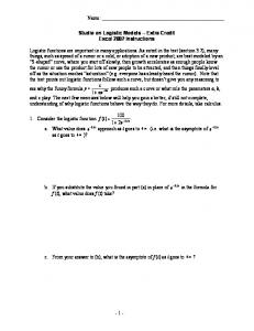 Studio on Logistic Models -- Extra Credit Excel 2007 Instructions