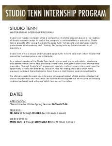 STUDIO TENN INTERNSHIP PROGRAM