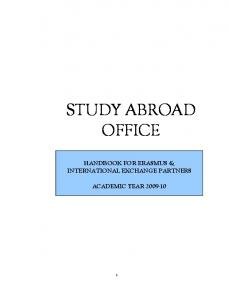 STUDY ABROAD OFFICE HANDBOOK FOR ERASMUS & INTERNATIONAL EXCHANGE PARTNERS ACADEMIC YEAR