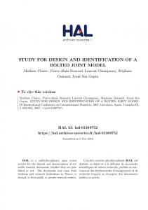STUDY FOR DESIGN AND IDENTIFICATION OF A BOLTED JOINT MODEL