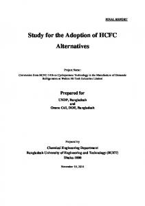 Study for the Adoption of HCFC Alternatives
