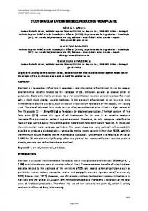 STUDY OF MOLAR RATIO IN BIODIESEL PRODUCTION FROM PALM OIL