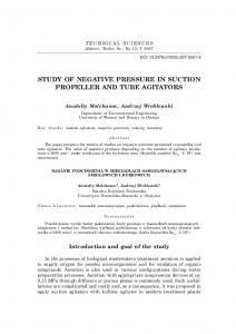 STUDY OF NEGATIVE PRESSURE IN SUCTION PROPELLER AND TUBE AGITATORS