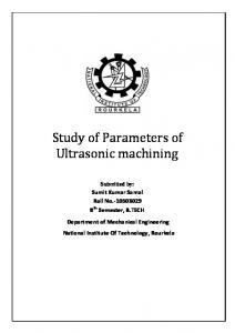 Study of Parameters of Ultrasonic machining