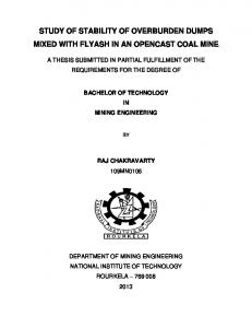 STUDY OF STABILITY OF OVERBURDEN DUMPS MIXED WITH FLYASH IN AN OPENCAST COAL MINE