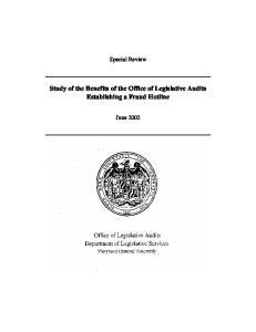 Study of the Benefits of the Office of Legislative Audits Establishing a Fraud Hotline