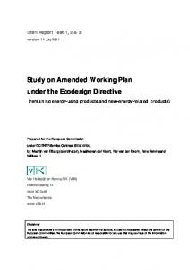 Study on Amended Working Plan under the Ecodesign Directive