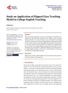 Study on Application of Flipped Class Teaching Model in College English Teaching