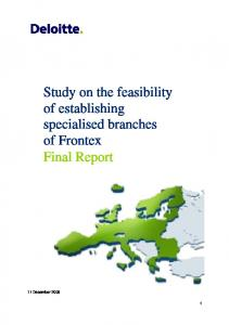 Study on the feasibility of establishing specialised branches of Frontex Final Report