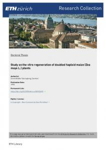 Study on the vitro regeneration of doubled haploid maize (Zea mays L.) plants