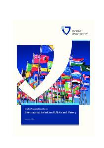 Study Program Handbook International Relations: Politics and History