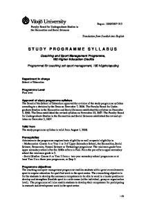 STUDY PROGRAMME SYLLABUS