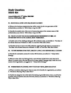 Study Questions HRM 464
