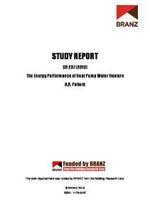 STUDY REPORT. SR 237 (2010) The Energy Performance of Heat Pump Water Heaters A.R. Pollard