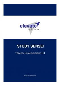 STUDY SENSEI. Teacher Implementation Kit Elevate Education