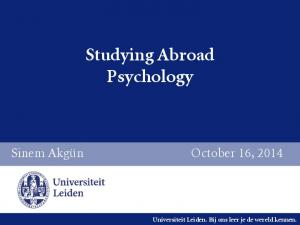 Studying Abroad Psychology