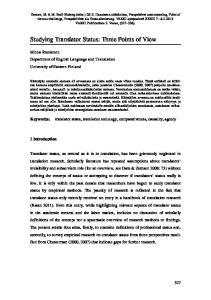 Studying Translator Status: Three Points of View