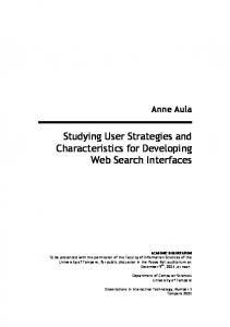 Studying User Strategies and Characteristics for Developing Web Search Interfaces