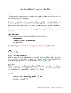 Style Sheet and Sample Programs for All Auditions