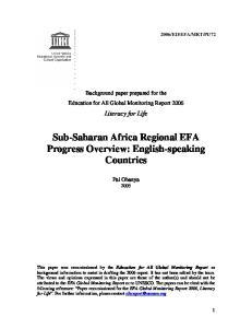 Sub-Saharan Africa Regional EFA Progress Overview: English-speaking Countries