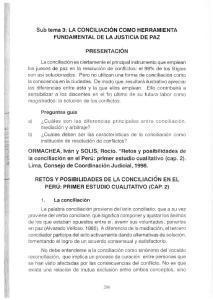 Sub tema 3: LA CONCILIACIÓN COMO HERRAMIENTA FUNDAMENTAL DE LA JUSTICIA DE PAZ PRESENTACIÓN