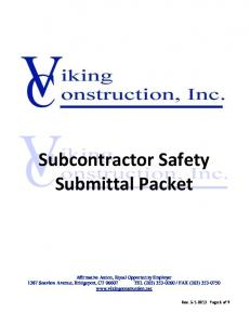 Subcontractor Safety Submittal Packet