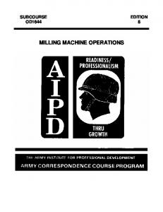 SUBCOURSE EDITION OD MILLING MACHINE OPERATIONS