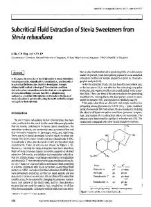 Subcritical Fluid Extraction of Stevia Sweeteners from