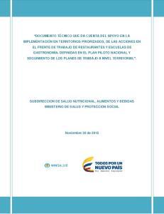 SUBDIRECCION DE SALUD NUTRICIONAL, ALIMENTOS Y BEBIDAS MINISTERIO DE SALUD Y PROTECCION SOCIAL