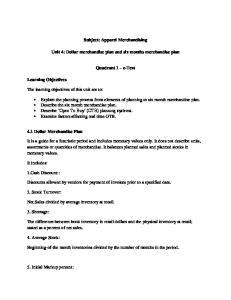 Subject: Apparel Merchandising. Unit 4: Dollar merchandise plan and six months merchandise plan. Quadrant 1 e-text