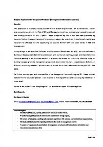 Subject: Application for the post of Professor (Management Information systems)