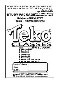 Subject : CHEMISTRY Topic : ELECTRO CHEMISTRY