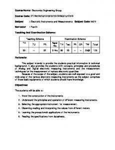 Subject : Electronic Instruments and Measurements Subject Code: Paper Hrs Hrs