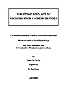 SUBJECTIVE ACCOUNTS OF RECOVERY FROM ANOREXIA NERVOSA