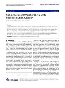 Subjective assessment of HDTV with superresolution function