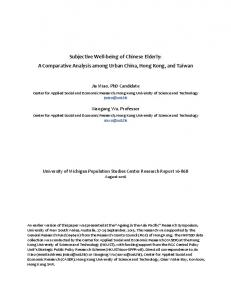 Subjective Well-being of Chinese Elderly: A Comparative Analysis among Urban China, Hong Kong, and Taiwan