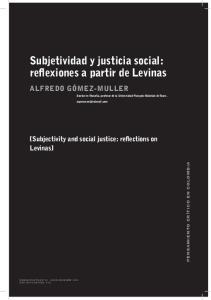 Subjetividad y justicia social: reflexiones a partir de Levinas
