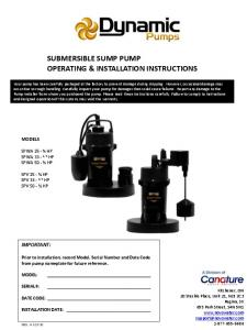 SUBMERSIBLE SUMP PUMP OPERATING & INSTALLATION INSTRUCTIONS