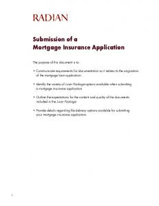 Submission of a Mortgage Insurance Application