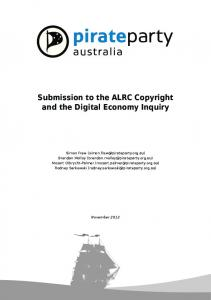 Submission to the ALRC Copyright and the Digital Economy Inquiry