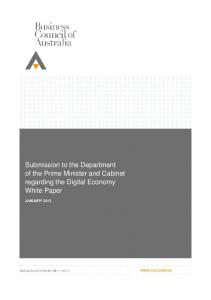 Submission to the Department of the Prime Minister and Cabinet regarding the Digital Economy White Paper