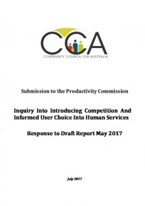 Submission to the Productivity Commission Inquiry Into Introducing Competition And Informed User Choice Into Human Services
