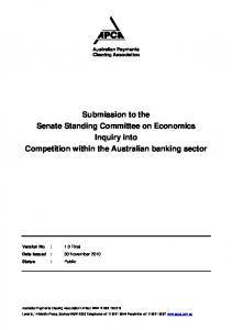 Submission to the Senate Standing Committee on Economics Inquiry into Competition within the Australian banking sector