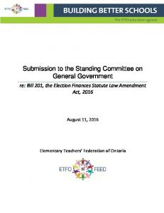 Submission to the Standing Committee on General Government