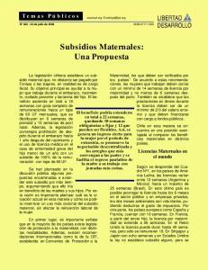 Subsidios Maternales: Una Propuesta